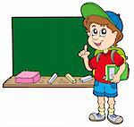 Advising school boy with blackboard - vector illustration.