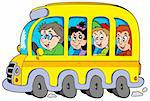 Cartoon school bus with kids - vector illustration. Stock Photo - Royalty-Free, Artist: clairev, Code: 400-04236063