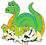 Dinosaur mom with cute babies - vector illustration. Stock Photo - Royalty-Free, Artist: clairev, Code: 400-04236068