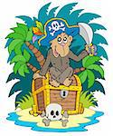 Pirate island with monkey - vector illustration. Stock Photo - Royalty-Free, Artist: clairev, Code: 400-04236083