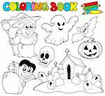 Coloring book with Halloween theme - vector illustration. Stock Photo - Royalty-Free, Artist: clairev, Code: 400-04236254