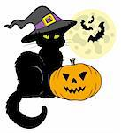 Halloween cat silhouette with Moon - vector illustration. Stock Photo - Royalty-Free, Artist: clairev, Code: 400-04236281