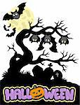 Halloween cemetery silhouette 1 - vector illustration. Stock Photo - Royalty-Free, Artist: clairev, Code: 400-04236282