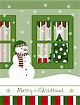 vector snowman and christmas window, Adobe Illustrator 8 format Stock Photo - Royalty-Free, Artist: beta757, Code: 400-04236658