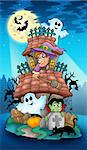 House with Halloween characters - color illustration. Stock Photo - Royalty-Free, Artist: clairev, Code: 400-04236772