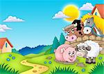 Landscape with various farm animals - color illustration.