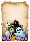 Parchment with Halloween theme 3 - color illustration. Stock Photo - Royalty-Free, Artist: clairev, Code: 400-04236790