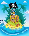 Small island with chest and parrot - color illustration. Stock Photo - Royalty-Free, Artist: clairev, Code: 400-04236801