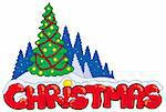 Christmas sign with tree - vector illustration. Stock Photo - Royalty-Free, Artist: clairev, Code: 400-04236817