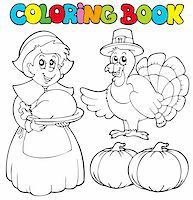 pilgrimartworks - Coloring book Thanksgiving theme - vector illustration. Stock Photo - Royalty-Freenull, Code: 400-04236820