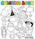 Coloring book with camping images - vector illustration. Stock Photo - Royalty-Free, Artist: clairev, Code: 400-04236828