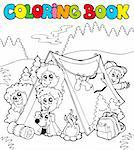Coloring book with camping kids - vector illustration. Stock Photo - Royalty-Free, Artist: clairev, Code: 400-04236829