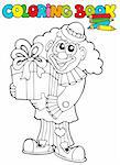 Coloring book with clown and gift - vector illustration.