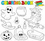 Coloring book with Halloween images - vector illustration. Stock Photo - Royalty-Free, Artist: clairev, Code: 400-04236845