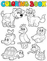 Coloring book with pets 2 - vector illustration. Stock Photo - Royalty-Freenull, Code: 400-04236848