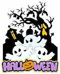 Halloween sign with three ghosts 2 - vector illustration. Stock Photo - Royalty-Free, Artist: clairev, Code: 400-04236857