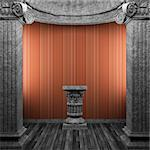 stone columns, pedestal and wallpaper made in 3D Stock Photo - Royalty-Free, Artist: icetray, Code: 400-04239000