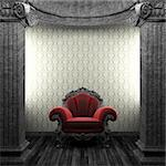 stone columns, chair and wallpaper made in 3D Stock Photo - Royalty-Free, Artist: icetray, Code: 400-04239003