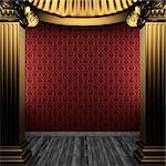 bronze columns and wallpaper made in 3D Stock Photo - Royalty-Free, Artist: icetray, Code: 400-04239007