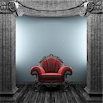 stone columns, chair and wallpaper made in 3D Stock Photo - Royalty-Free, Artist: icetray, Code: 400-04239009