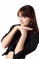 casual girl standing up over a white background Stock Photo - Royalty-Freenull, Code: 400-04239053