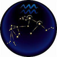Aquarius constellation plus the Aquarius astrological sign Stock Photo - Royalty-Freenull, Code: 400-04240266