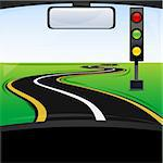 illustration of traffic  signal on the way Stock Photo - Royalty-Free, Artist: get4net, Code: 400-04240831
