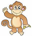 Cartoon waving monkey with banana - vector illustration. Stock Photo - Royalty-Free, Artist: clairev, Code: 400-04240949