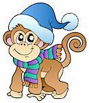 Cute monkey in winter clothes - vector illustration. Stock Photo - Royalty-Free, Artist: clairev, Code: 400-04240979