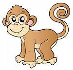 Cute small monkey - vector illustration. Stock Photo - Royalty-Free, Artist: clairev, Code: 400-04240981