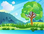 Landscape with leafy tree and lake - vector illustration.