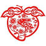 Chinese style of paper cut for year of the rabbit. Stock Photo - Royalty-Free, Artist: mylefthand, Code: 400-04241279