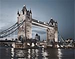 Tower Bridge lit up at night Stock Photo - Premium Royalty-Freenull, Code: 649-04248596