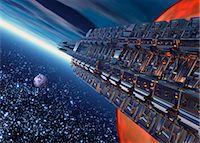 spaceship - Space travel, artwork Stock Photo - Premium Royalty-Freenull, Code: 679-04250103
