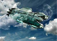 spaceship - Alien invasion, artwork Stock Photo - Premium Royalty-Freenull, Code: 679-04250246