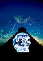 Crystal skull and Maya pyramid, artwork Stock Photo - Premium Royalty-Freenull, Code: 679-04250797