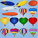 Vector illustration of different airships and balloons isolated on blue background. Stock Photo - Royalty-Free, Artist: Stiven                        , Code: 400-04255525