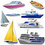 Vector illustration of different boat types isolated on white background.