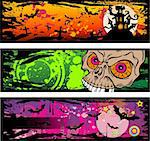Halloween Grunge Style Banners With Horror Design Elements