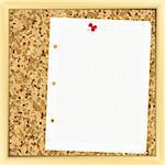 Vector. closeup of note paper on cork board - Illustration for your design