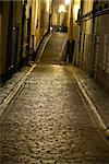 Empty narrow street with cobblestones in the old town of Stockholm, Sweden Stock Photo - Royalty-Free, Artist: PinkBadger                    , Code: 400-04258186