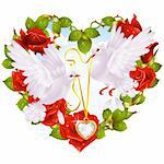 Rose garland in the shape of heart and couple dove