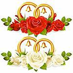 Wedding rings and bunch of roses 01