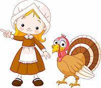 Illustration of Thanksgiving Pilgrim girl pointing and turkey Stock Photo - Royalty-Freenull, Code: 400-04258207