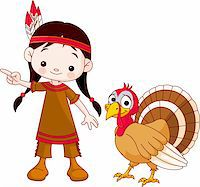 Illustration of Thanksgiving Indian  girl pointing and turkey Stock Photo - Royalty-Freenull, Code: 400-04258208