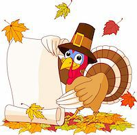 Illustration of Thanksgiving turkey holding scroll. With falling leaves Stock Photo - Royalty-Freenull, Code: 400-04258210