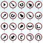 vector collection of various direction signs Stock Photo - Royalty-Free, Artist: emirsimsek                    , Code: 400-04258315