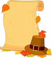 pilgrimartworks - Thanksgiving scroll with pilgrim hat and autumn leaves Stock Photo - Royalty-Freenull, Code: 400-04259288