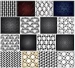 Set chainlink fence isolated against a metal background. Vector illustration Stock Photo - Royalty-Free, Artist: emaria                        , Code: 400-04259325