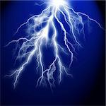 Electric flash of lightning on a dark blue background Stock Photo - Royalty-Free, Artist: tetkoren                      , Code: 400-04259669